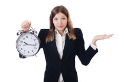 Businesswoman with clock Stock Photo