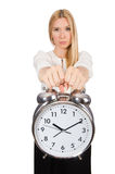 Businesswoman with clock isolated Royalty Free Stock Photo