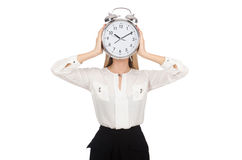 Businesswoman with clock isolated Royalty Free Stock Photos