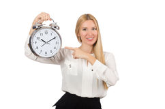 Businesswoman with clock isolated Royalty Free Stock Images