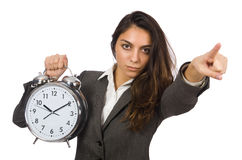Businesswoman with clock missing Royalty Free Stock Image