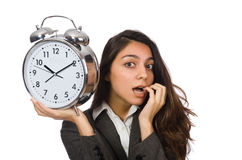 Businesswoman with clock missing Stock Photo