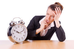 Businesswoman with clock missing Stock Image