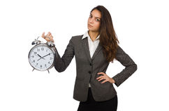 Businesswoman with clock missing Royalty Free Stock Images