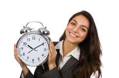 Businesswoman with clock missing her deadlines Royalty Free Stock Photos