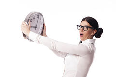 Businesswoman with clock Royalty Free Stock Images