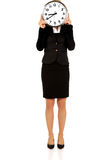 Businesswoman with clock - time concept Royalty Free Stock Photos
