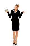 Businesswoman with clock - time concept Stock Image