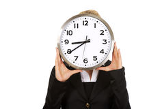 Businesswoman with clock - time concept Stock Images