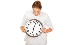 Businesswoman with clock- time concept Royalty Free Stock Image