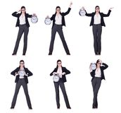 The businesswoman with clock in time management concept Stock Photo