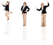 BusinessWoman Clone. Happy business woman on an isolated white background poses Royalty Free Stock Photos