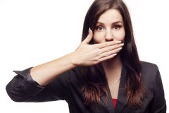 Businesswoman with closed mouth Royalty Free Stock Photo