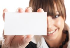 Businesswoman Closeup. Attractive Businesswoman Closeup - presenting her business card stock images