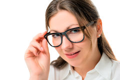 Businesswoman closeup portrait in black glasses Royalty Free Stock Image