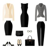 Businesswoman clothes icons in flat style. Stock Images