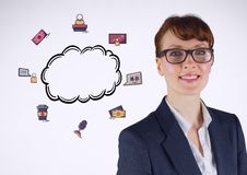 Businesswoman with cloud and business graphics drawings Royalty Free Stock Photos