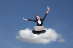 Businesswoman and cloud computing Stock Photos