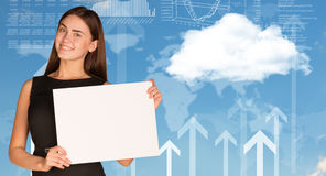 Businesswoman with cloud, world map and arrows Stock Images