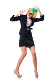 Businesswoman in clown costume Stock Photos