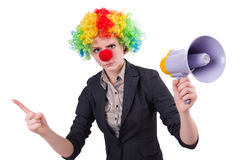 Businesswoman clown with loudspeaker isolated Royalty Free Stock Photos