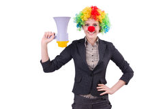 Businesswoman clown with loudspeaker isolated Royalty Free Stock Photo