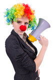 Businesswoman clown with loudspeaker Royalty Free Stock Images