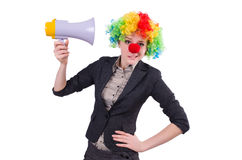 Businesswoman clown with loudspeaker Royalty Free Stock Photos