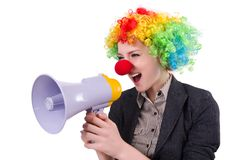 Businesswoman clown with loudspeaker Royalty Free Stock Photography