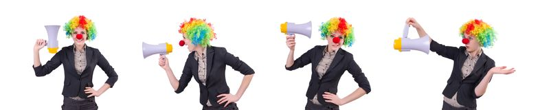 The businesswoman clown with loudspeaker isolated on white Stock Images