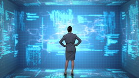 Businesswoman coding on tech interface stock footage