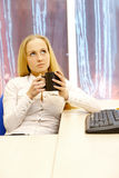 Businesswoman with coffee. Royalty Free Stock Photography