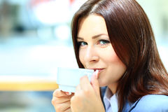Businesswoman on a coffee break Stock Images