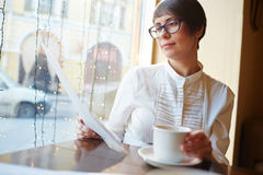 Businesswoman at Coffee Break Royalty Free Stock Photos