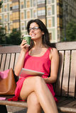 Businesswoman on coffee break with tablet device Royalty Free Stock Photo