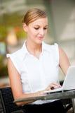 Businesswoman With Coffee & Laptop Stock Photos