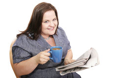 Businesswoman - Coffee & News Stock Photography