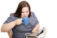 Businesswoman - Coffee & Newspaper Royalty Free Stock Photos