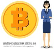 Cryptocurrency concept. Businesswoman with coin of bitocin sign in flat style isolated on white background. Digital currency elect. Businesswoman with coin of Royalty Free Stock Photo