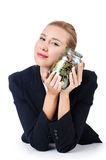Businesswoman with coins Royalty Free Stock Photography