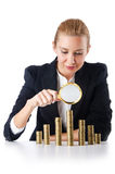 Businesswoman with coins Royalty Free Stock Image
