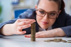 The businesswoman with coins in forex concept. Businesswoman with coins in forex concept Stock Images
