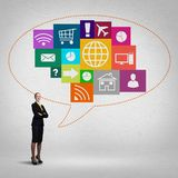 Interface presentation. Businesswoman and color application icons at background stock photos