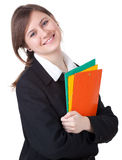Businesswoman with colorful folders Royalty Free Stock Photo