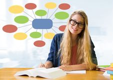 Businesswoman and Colorful mind map over bright background Royalty Free Stock Images