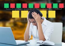 Businesswoman and Colorful mind map over city night background Stock Photography