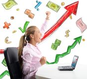 Businesswoman comes to success Stock Photos