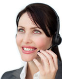 A businesswoman in communication Stock Image