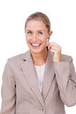 Businesswoman in communication Royalty Free Stock Image