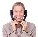 Businesswoman in communication Royalty Free Stock Photography